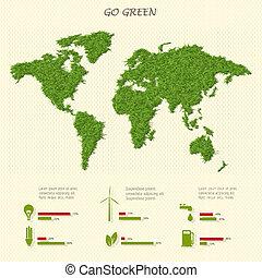 eco, elementi, mondo, infographic, mappa, stilizzato