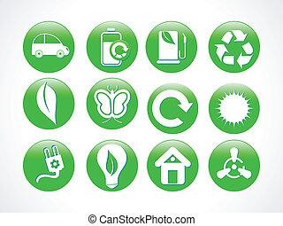 eco, elvont, zöld, ikon