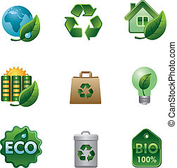 eco, en, bio, pictogram, set