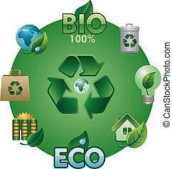 eco, en, bio, pictogram, set
