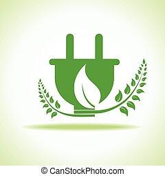 eco, enchufe, hoja, verde