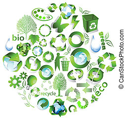Eco end recycle symbols isolated on white
