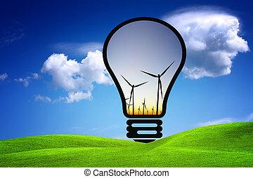 eco, energía, concepto