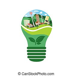 eco, energia, conceito, bulbo, renovável