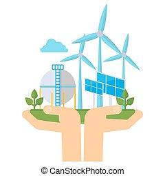 eco, energia, concetto, verde