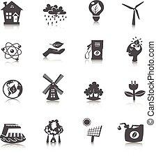 eco, energia, jogo, ícones