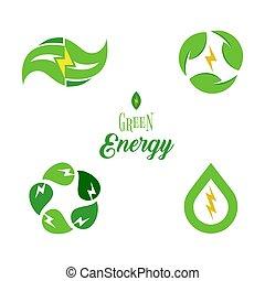eco, energia, símbolo, modelo, logotipo, set., poder verde, sinais, cobrança, isolated., electricidade, ícones, design.