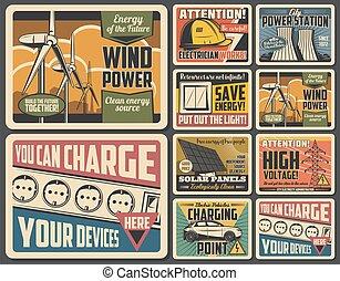 eco, energia, turbina, painel, car, vento, elétrico, solar