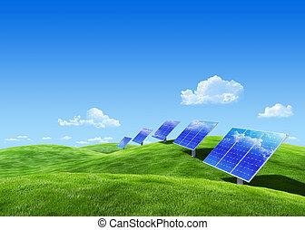 eco, energia, -, zbiór, słoneczny