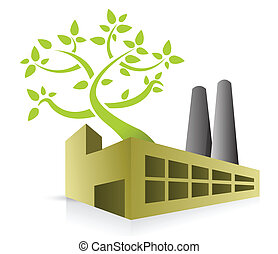 eco energy factory illustration design over white
