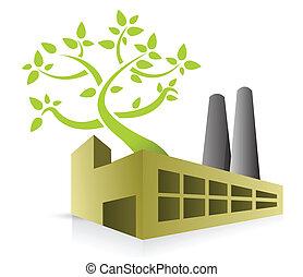 eco energy factory illustration design over white