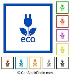 ECO energy framed flat icons