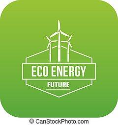 Eco energy icon green vector