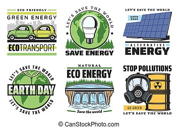 Eco energy icons, globe, green leaves, solar power