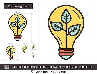 Eco energy line icon.