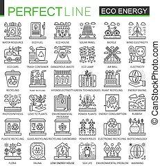 Eco energy outline mini concept symbols. Renewable green technology modern stroke linear style illustrations set. Perfect thin line icons.