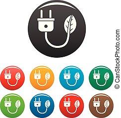 Eco energy plug icons set color