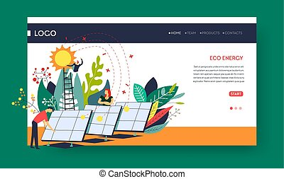 Eco energy solar batteries web pages templates - Environment...