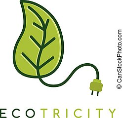 Eco energy symbol icon logo logotype template - Green ecology friendly electricity