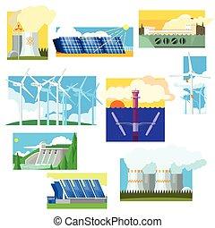 Eco Energy Symbols Set. Vector Illustration