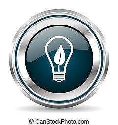 Eco energy vector icon. Chrome border round web button....