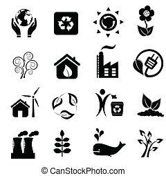eco, environnement, icônes
