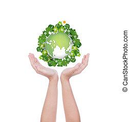 eco, erde, frau, hände halten, feundliches