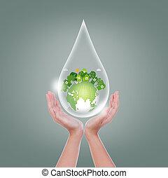 eco, erde, tropfen, frau, hände halten, feundliches , wasser