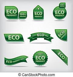 eco, etiketten, en, stickers