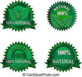 eco, etiketten, set, natuurlijke