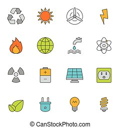 eco, färg, energi, fodra, ikonen
