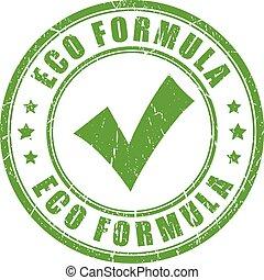 eco, fórmula, sello de goma