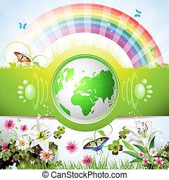 eco, földdel feltölt, zöld