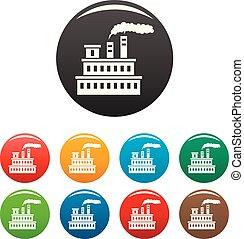 Eco factory icons set color