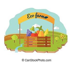 Eco Farm Conceptual Vector in Flat Style Design.