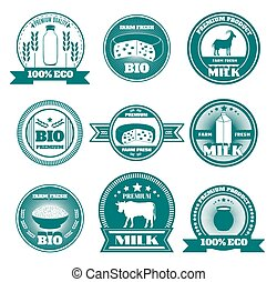 Eco friendly dairy farm emblems set with organic cottage cheese and fresh milk abstract isolated vector illustration