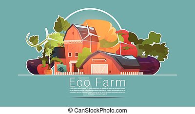 Eco Farming, Farm House, Farmland With Wind Turbine Renewable Energy Station