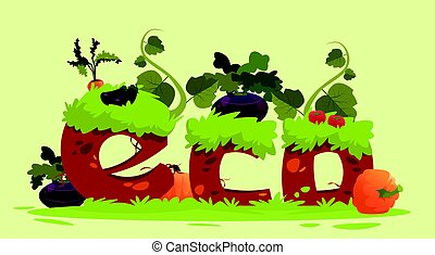 Eco Farming Fresh Domestic Food Concept Banner