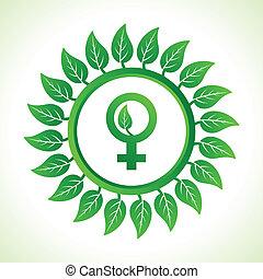 Eco female symbol inside the leaf