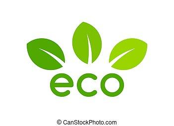 eco, feuille, symbole.