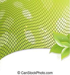 eco, feuilles, arrière-plan vert