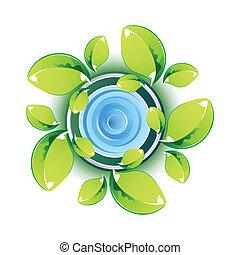 eco, feuilles, projection, vert, symbole