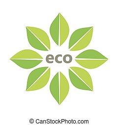 eco, feuilles, symbole