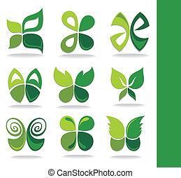 eco, feuilles, vert, icône