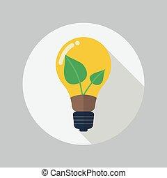 Eco Flat Icon. Green energy