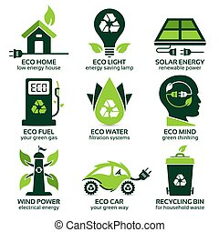 eco flat symbols promoting green lifestyle in the household,...