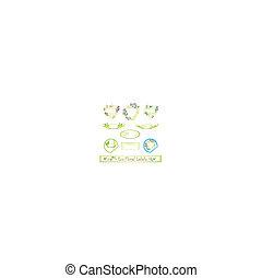 eco, floreale, set, etichetta