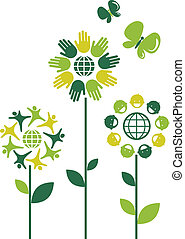 Eco flowers - 1 - Eco flower symbols - human theme