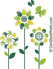 Eco flower symbols - human theme