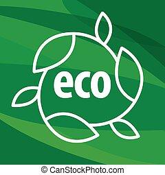 eco, foglie, forma, vettore, sfondo verde, logotipo